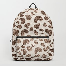 Chic ivory brown glitter gradient animal print pattern Backpack