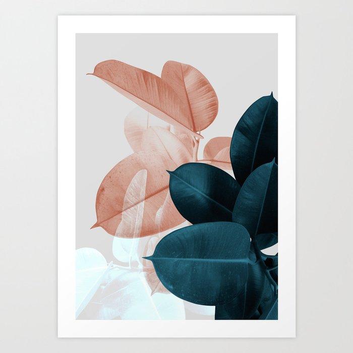 Blush & Blue Leaves Art Print