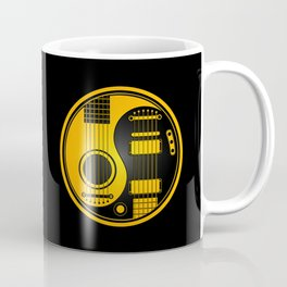 Yellow and Black Acoustic Electric Yin Yang Guitars Coffee Mug