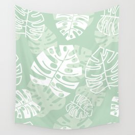 Minty Monstera Leaves Wall Tapestry