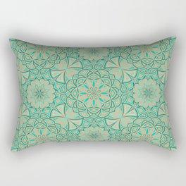 Aqua Golden Mandala Rectangular Pillow