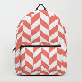 HERRINGBONE (SALMON & WHITE) Backpack