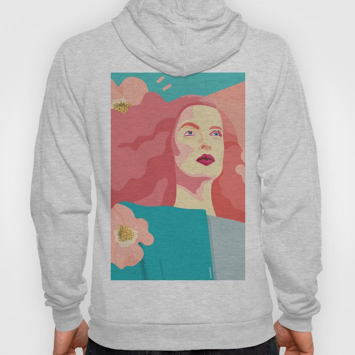 Spring model with flower motives and bold color with marble effect background Hoody