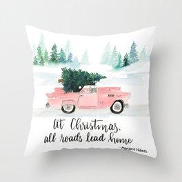 Christmas Vintage Car Print Throw Pillow