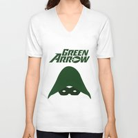 green arrow V-neck T-shirts featuring The Green Arrow by bivisual