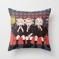 ahs Throw Pillows featuring AHS Hotel by minniemorrisart
