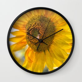 Bold Sunflower with Bee Wall Clock