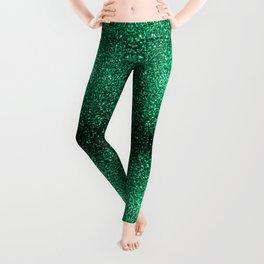 Beautiful Emerald Green glitter sparkles Leggings