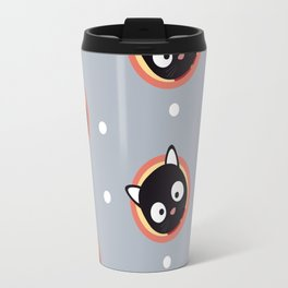 Cute Cat with red Cirlce Pattern Travel Mug