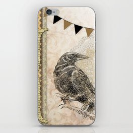 Crow, Brown Banner, Doily, Digital Design iPhone Skin