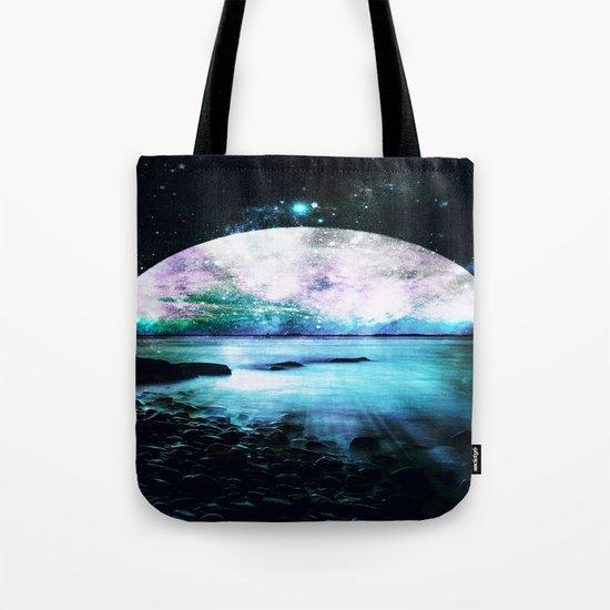 Mystic Lake Teal Violet Tote Bag