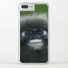 Dusky Leaf Monkey Portrait Clear iPhone Case