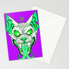 GREEN Demon Sphynx Cat Stationery Cards