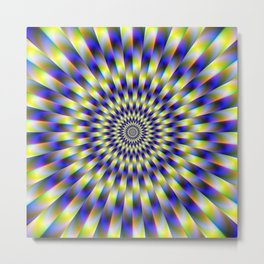 Concentric Rings in Blue and Yellow Metal Print