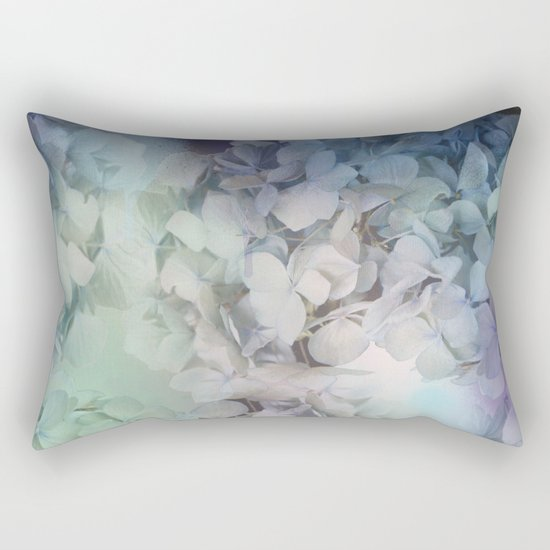 Artistic Hydrangea flowers in soft blue and purple Rectangular Pillow