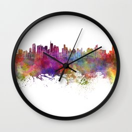 Makati skyline in watercolor background Wall Clock