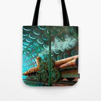 steam punk Tote Bags featuring Steam Train Punk by Goodson Productions