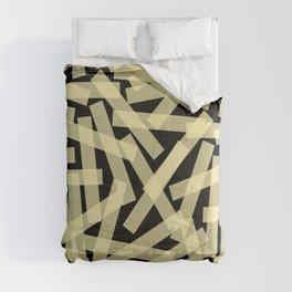 Masking Tape Pattern on Black Background Comforters