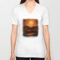sunset V-neck T-shirts featuring Sunset by Viviana Gonzalez