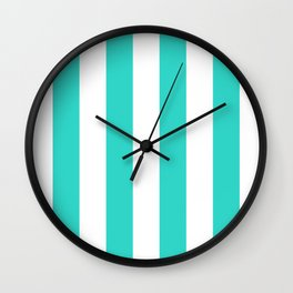 Vertical Stripes - White and Turquoise Wall Clock