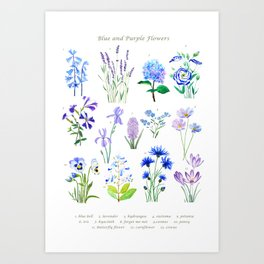 blue and purple flower collection watercolor Art Print