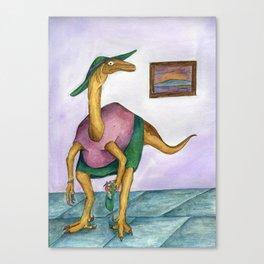 Dressy Dinosaur - Shirley Canvas Print