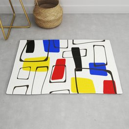 Eames Style Art Primary Colors Rug
