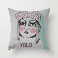yolo Throw Pillows featuring Yolo  by Agnes Emilia