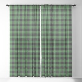 Classic Green Country Cottage Summer Buffalo Plaid Sheer Curtain