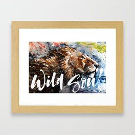 Lion Wild and Free Framed Art Print