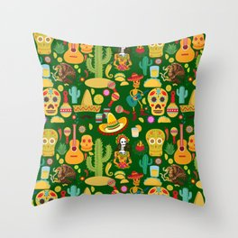Fiesta Time! Mexican Icons Throw Pillow