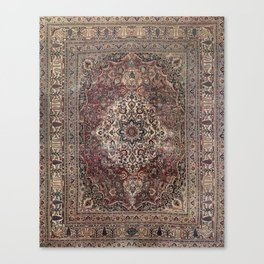 Antique Persia Doroksh Old Century Authentic Dusty Dull Blue Gray Green Vintage Rug Pattern Canvas Print