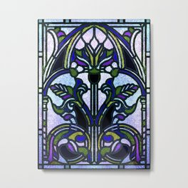 Blue and Green Glowing Art Nouveau Stain Glass Design Metal Print