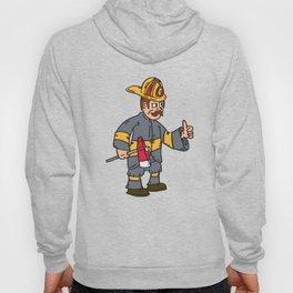 Fireman Firefighter Axe Thumbs Up Cartoon Hoody