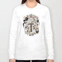 fandom Long Sleeve T-shirts featuring Helmets of fandom - respect the head! by CaptainLaserBeam