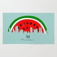 watermelon Area & Throw Rugs featuring watermelon by mark ashkenazi