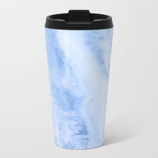 Shimmery Pure Cerulean Blue Marble Metallic Metal Travel Mug