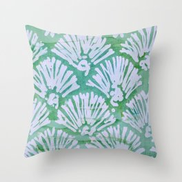 GREEN BATIK 2 Throw Pillow