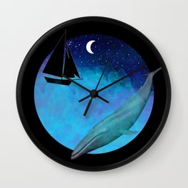 Magical Watercolor night II Wall Clock