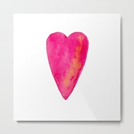 Pink Heart Full Of Love Watercolor Metal Print