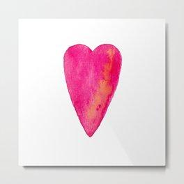 Pink Heart Full Of Love Watercolor Metal Print
