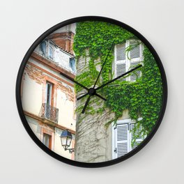 Toulouse Cityscape in France - Climbing Ivy and Urban Photography Wall Clock