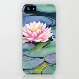 Pink Waterlilies with Colorful Pads iPhone Case