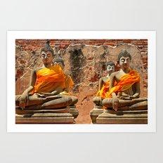 Old buddha statue, Thailand Art Print