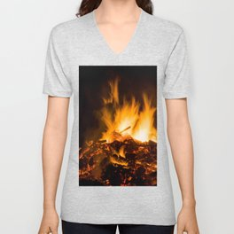 Fire flames Unisex V-Neck