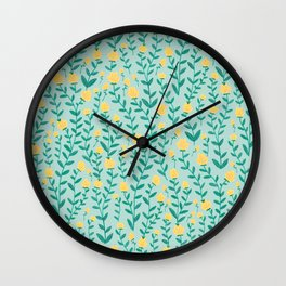 Emerald green and Yellow Minimal Retro Flowers Pattern Wall Clock