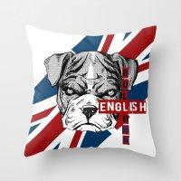 english bulldog Throw Pillows featuring English Bulldog by Det Tidkun