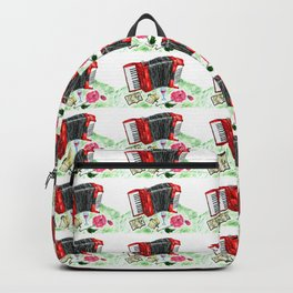 Retro red accordion Backpack