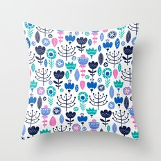 Flourish (Blues) Throw Pillow