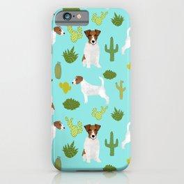 Jack Russell Terrier cactus desert custom pet portrait dog art by pet friendly iPhone Case